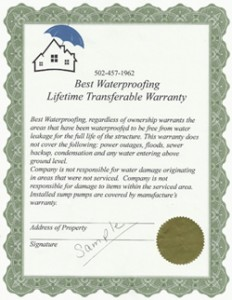 Lifetime Transferable Warranty from Best Waterproofing